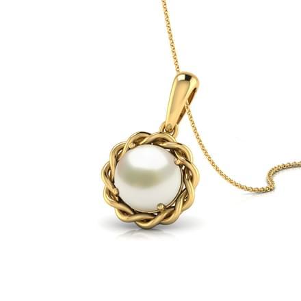 Wavy Pearl Birthstone Pendant