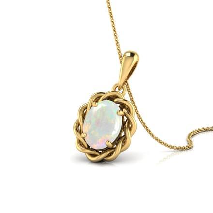 Wavy Opal Birthstone Pendant