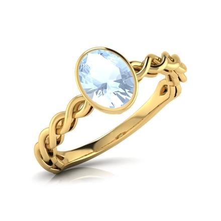 Wave Aquamarine Birthstone Ring