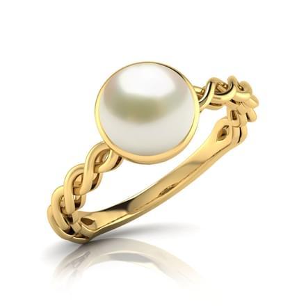 Wave Pearl Birthstone Ring