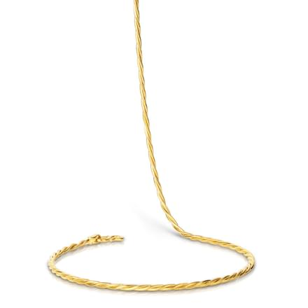 Twisted Rope 16 Inch 22kt Gold Chain