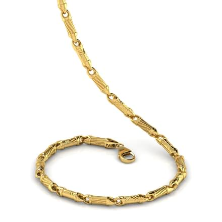 Golden Cylinder 20 Inch 22kt Gold Chain