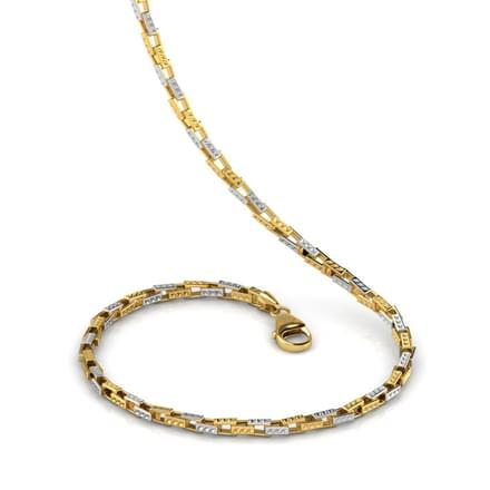 Rectangular Loop 20 Inch 22kt Gold Chain