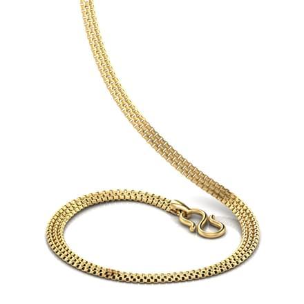 Box Interlinked Broad 16 Inch 22kt Gold Chain