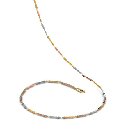 Gold Wafers Three Tone 18 Inch 18kt Gold Chain