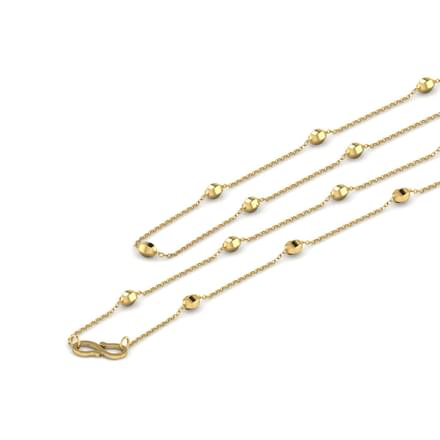 Single Beaded 16 Inch 22Kt  Gold Chain