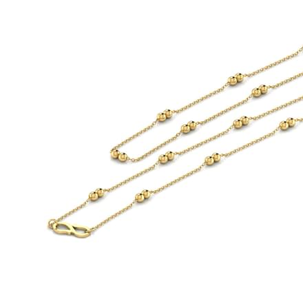 Dual  Beaded 16 Inch 22Kt Gold Chain