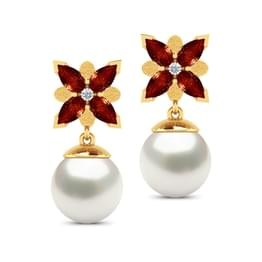 Windmill Droplets Garnet (5*3 mm) &  Pearl (7 mm) Earrings.