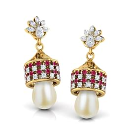 Latticed Pearl Drop Jhumkas