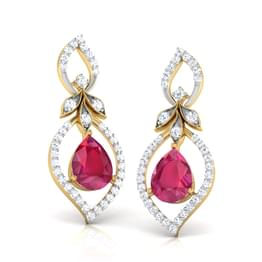 Trifolia Ruby Earrings