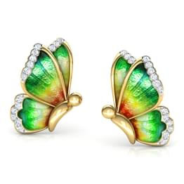 Flutter Green Butterfly Stud Earrings