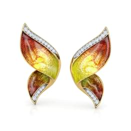 Pinion Orange Butterfly Ear Cuffs