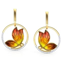 Encircle Orange Butterfly Drop Earrings