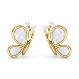 Butterfly Mother of Pearl Stud Earrings