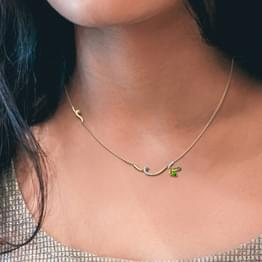 Tendril Green Butterfly Diamond Necklace