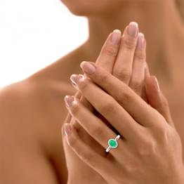 Halo Emerald Birthstone Ring
