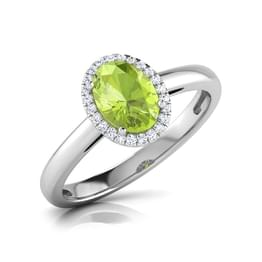 Halo Peridot  Birthstone Ring