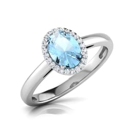 Halo Blue Topaz Birthstone Ring
