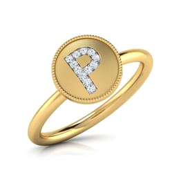 Alphabet P Diamond Ring
