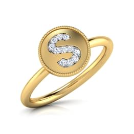 Alphabet S Diamond Ring