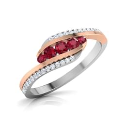 Graceful Tri Line Ring