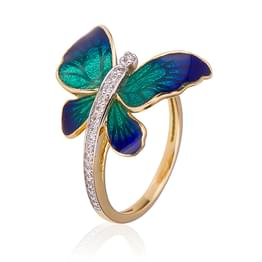 Flare Blue Butterfly Ring