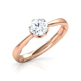 Flower Held Solitaire Ring