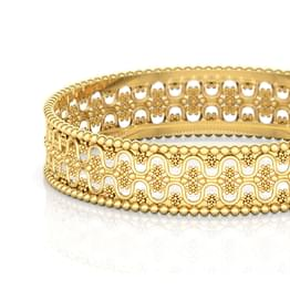 Dual Wave Gold Bangle