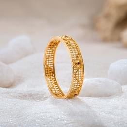 Intricate Bloom Gold Bangle