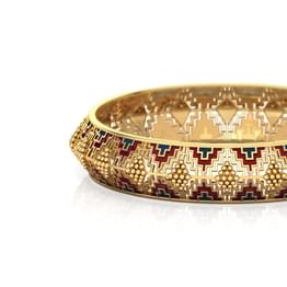 Enamel Deco Broad Gold Bangle