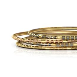 Four Tone Grooved Gold Bangle Set of 4