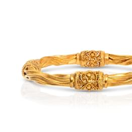 Filigree and Wave Gold Bangle