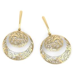 Luna Circular Veneer Drop Earrings