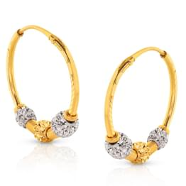 Eman Beaded Gold Hoop Earrings