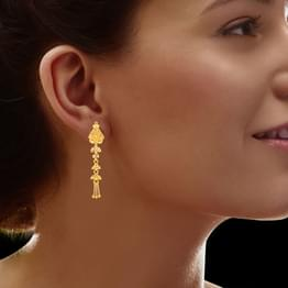 Aliya Beaded Gold Drop Earrings