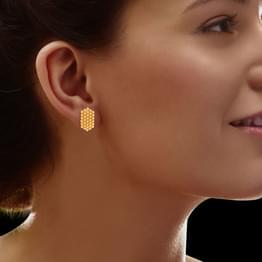 Fena Granulated Gold Stud Earrings