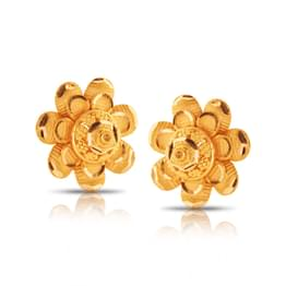 Charmi Floral Gold Stud Earrings