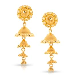 Lilly Beaded Gold Jhumkas
