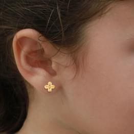 Floret Gold Stud Earrings