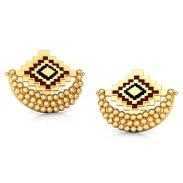 Crescent Gold Stud Earrings