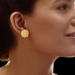 Bunched Gold Stud Earrings