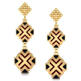 Two Disc Gold Drop Earrings