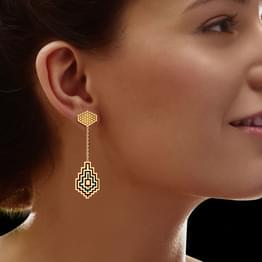 Abstract Maze Gold Drop Earrings