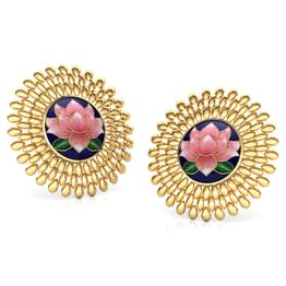 Dhriti Lotus Gold Stud Earrings