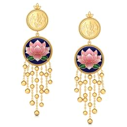 Antara Lotus Gold Drop Earrings