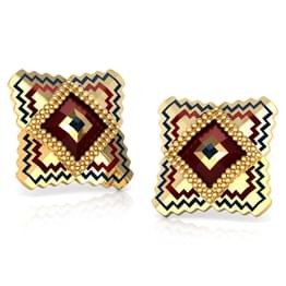 Square Gold Stud Earrings