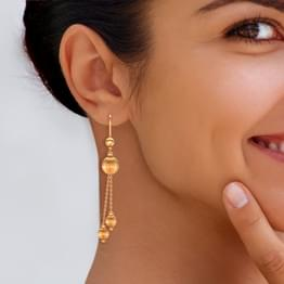 Dangling Beads Gold Drop Earrings