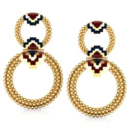 Interlinked Circle Gold Drop Earrings