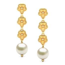 Trio Floret Gold Drop Earrings