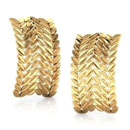 Petal Rows Gold Stud Earrings